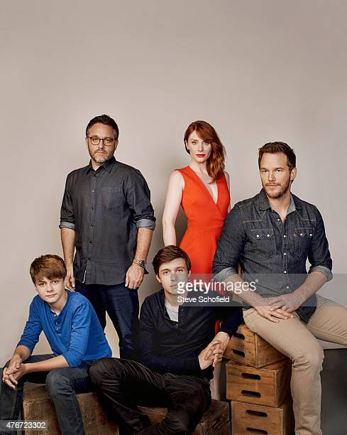 The cast of 'Jurassic World' director Colin Trevorrow Bryce Dallas Howard Chris Pratt Ty Simpkins and Nick Robinson are photographed for Wonderwall...