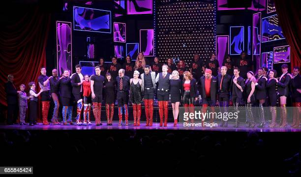 The cast of Kinky Boots and students from the Harvey Milk High School perform during the TDF Honors Broadway's 'Kinky Boots' Curtain Call at Al...