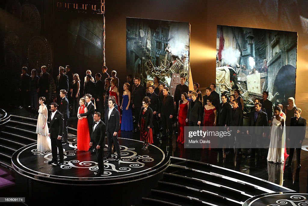 The cast of 'Les Miserables' perform onstage during the Oscars held at the Dolby Theatre on February 24, 2013 in Hollywood, California.