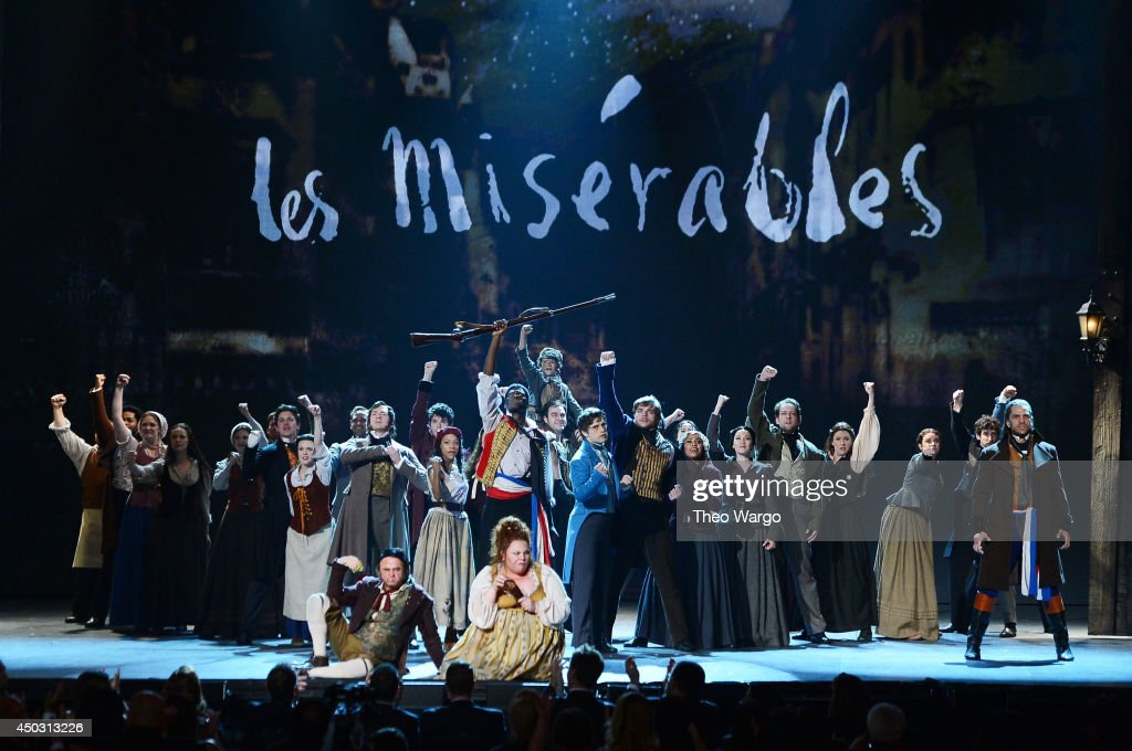 The cast of Les Miserables performs onstage during the 68th Annual Tony Awards at Radio City Music Hall on June 8, 2014 in New York City.