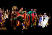 The cast of Lion King performs at the 'The Lion King' On Broadway 15th Anniversary Celebration>> at the Minskoff Theatre on November 18 2012 in New...