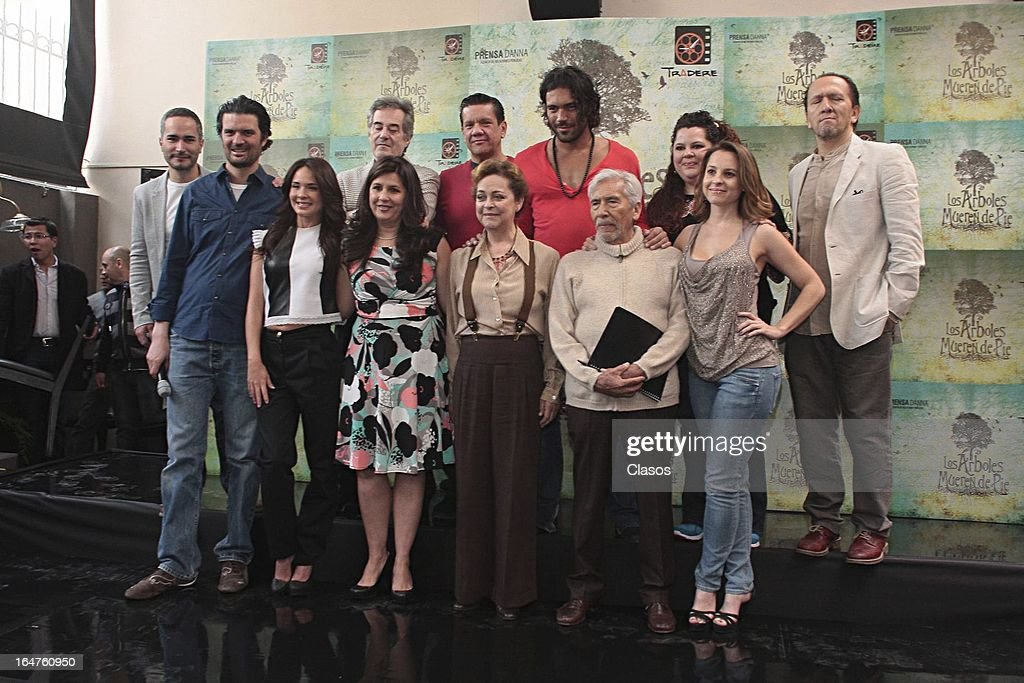 The cast of 'Los Arboles Mueren de Pie' poses during the press conference before the start of the shooting of the film on March 27, 2013, in Mexico City, Mexico.