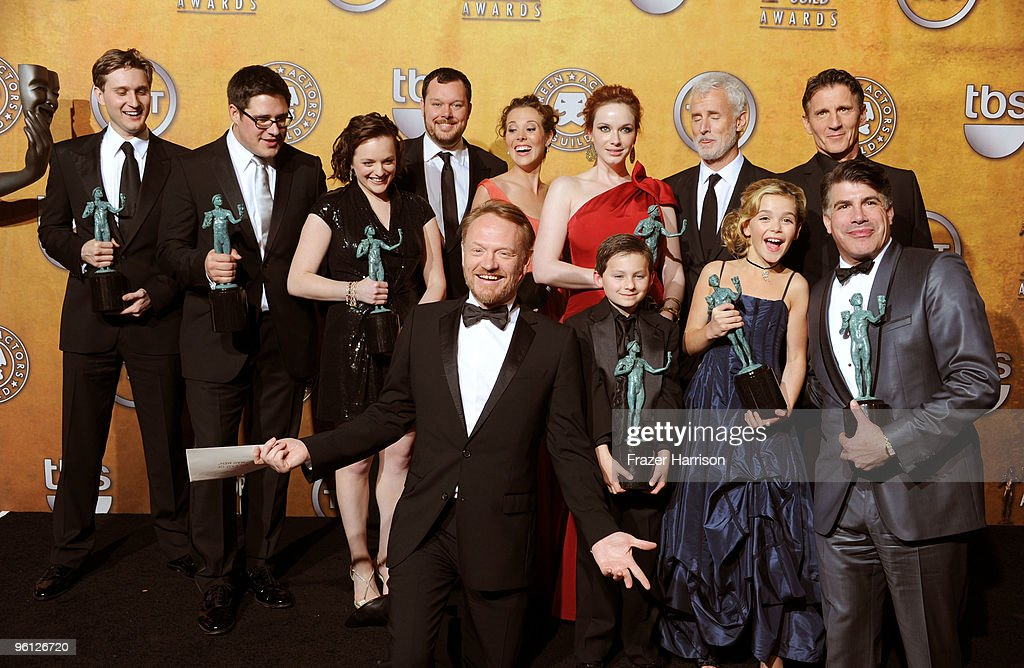 The cast of 'Mad Men' pose with the Ensemble In A Drama Series award in the press room at the 16th Annual Screen Actors Guild Awards held at the Shrine Auditorium on January 23, 2010 in Los Angeles, California.