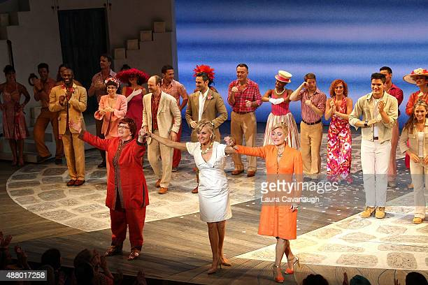 The cast of 'Mamma Mia' Broadway final performance at The Broadhurst Theatre on September 12 2015 in New York City
