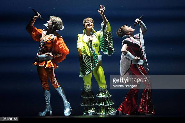 The cast of 'Mamma Mia' musical perform on stage at Smeraldo's Theatre on February 28 2009 in Milan Italy