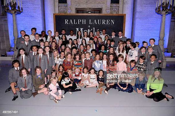 The cast of Matilda and models attend the Ralph Lauren Fall 14 Children's Fashion Show in Support of Literacy at New York Public Library on May 19...