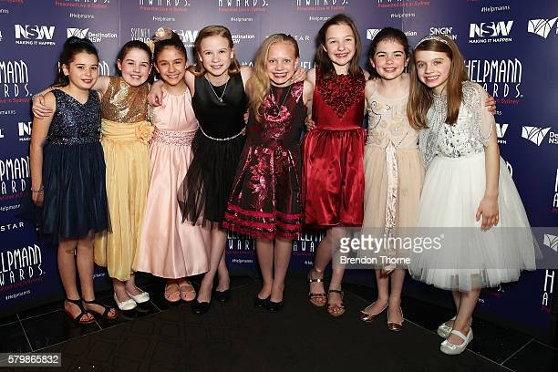 The cast of Matilda pose after winning Best Female Actor in a Musical in the awards room at 16th Annual Helpmann Awards at Lyric Theatre Star City on...