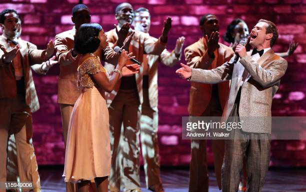 The cast of 'Memphis' performs on stage during the 65th Annual Tony Awards at the Beacon Theatre on June 12 2011 in New York City