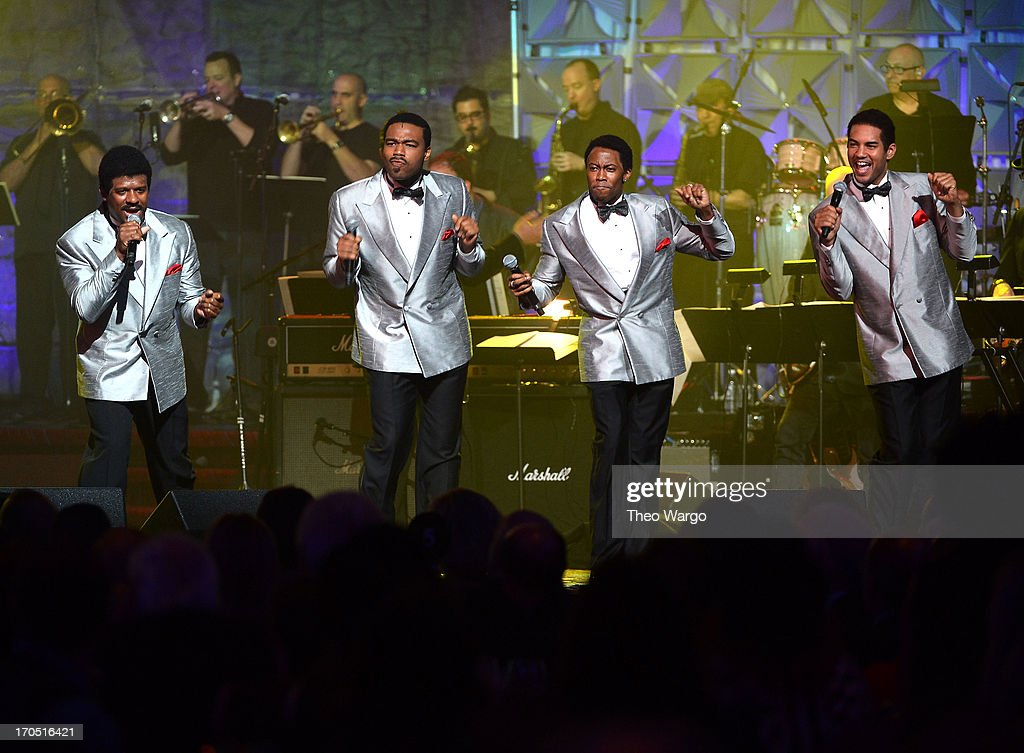 The cast of Motown The Musical performs at the Songwriters Hall of Fame 44th Annual Induction and Awards Dinner at the New York Marriott Marquis on...