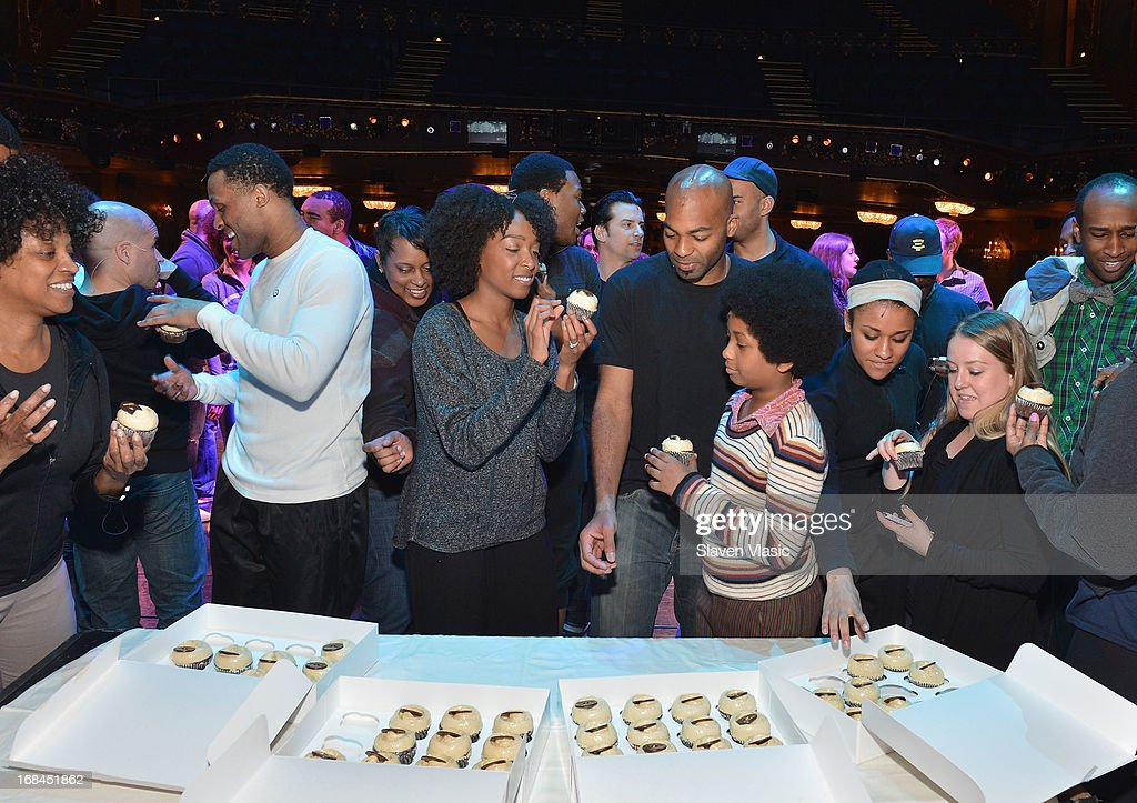 The Cast Of 'Motown: The Musical' Unveil's Magnolia Bakery's 'Motown' Cupcake at Lunt-Fontanne Theatre on May 9, 2013 in New York City.