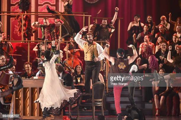 The cast of 'Natasha Pierre and The Great Comet of 1812' performs onstage during the 2017 Tony Awards at Radio City Music Hall on June 11 2017 in New...
