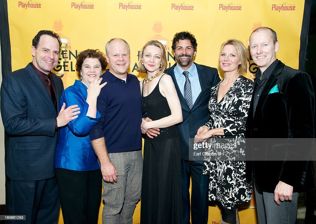 The cast of Noel Coward's Fallen Angels (L-R) Loren Lester, Mary-Pat Green, Mike Ryan, Katie Macnichol, Elijah Alexander, Pamela J. Gray and Art Manke (Director) pose for on the Opening Night Performance of Noel Coward's Fallen Angels at Pasadena Playhouse on February 3, 2013 in Pasadena, California.