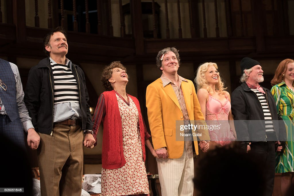 The cast of 'Noises Off' perform onstage during 'Noises Off' Broadway opening night at American Airlines Theatre on January 14 2016 in New York City