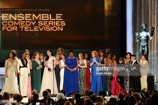The cast of 'Orange Is The New Black' accept the award for Oustanding Ensemble in a Comedy Series onstage during The 22nd Annual Screen Actors Guild...