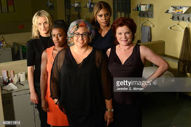 The cast of Orange is the New Black Taylor Schilling Uzo Aduba creator Jenji Kohan Laverne Cox and Kate Mulgrew are photographed for Los Angeles...