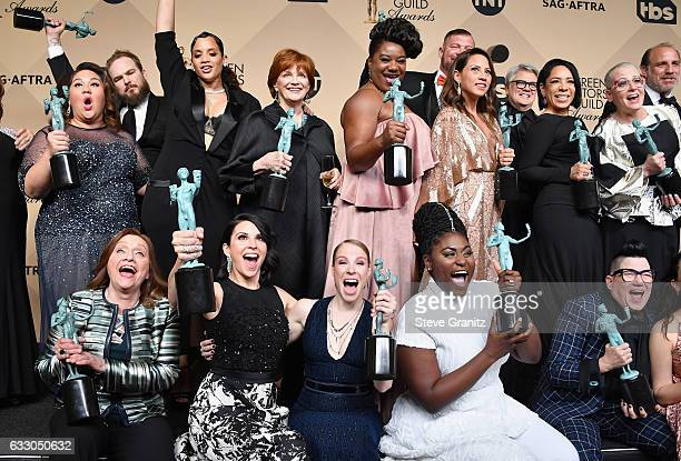 The cast of 'Orange is the New Black' winners of the Outstanding Ensemble in a Comedy Series award of 'Orange Is the New Black' pose in the press...