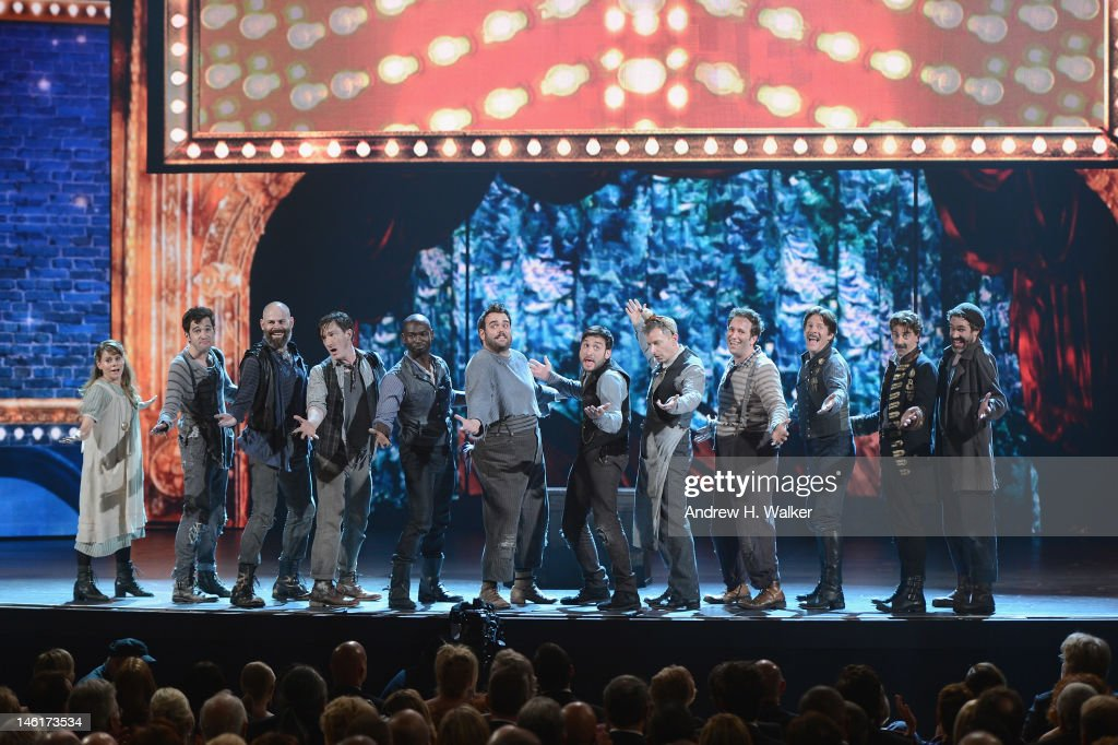 The cast of Peter and the Starcatcher perform onstage at the 66th Annual Tony Awards at The Beacon Theatre on June 10, 2012 in New York City.