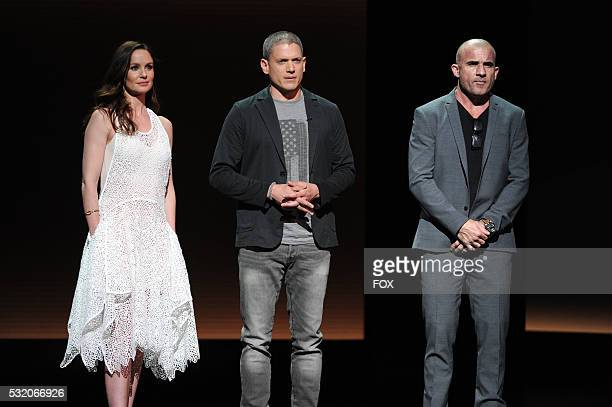 The cast of PRISON BREAK Sarah Wayne Callies Wentworth Miller and Dominic Purcell during the FOX 2016 PROGRAMMING PRESENTATION announcing FOX's new...