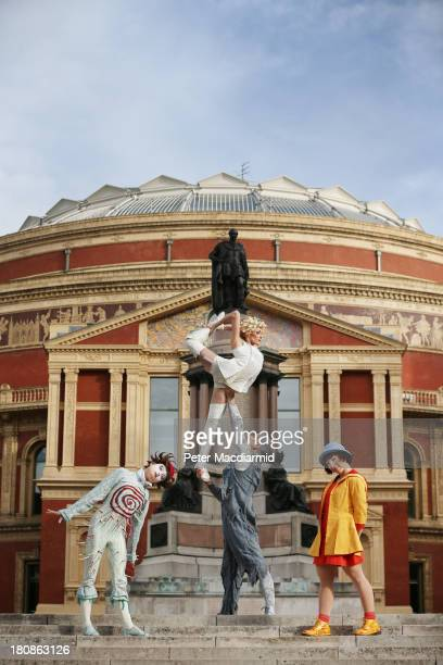 The cast of Quidam from Cirque de Soleil perform outside the Royal Albert Hall on September 17 2013 in London England Quidam a story of a bored child...