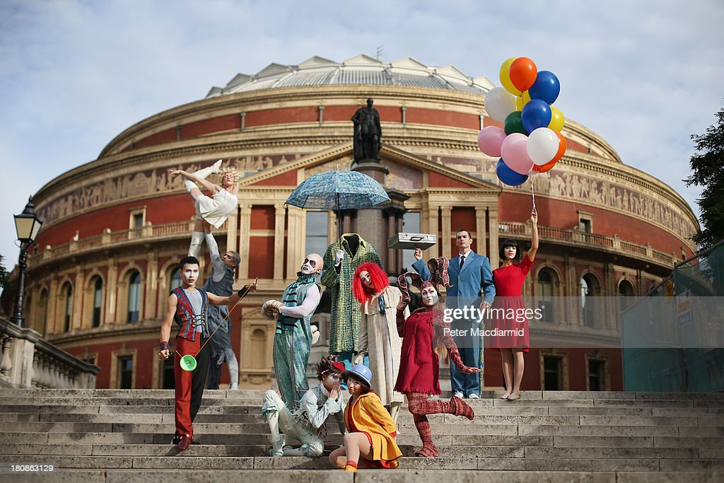 The cast of Quidam from Cirque de Soleil perform outside the Royal Albert Hall on September 17, 2013 in London, England. Quidam, a story of a bored child and her imaginary world, will be performed from January 4, 2014 and will see Cirque de Soleil's cast of 45 acrobats welcome it's three millionth audience member in London.