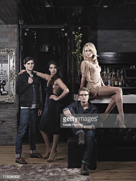 The cast of reality tv show Made in Chelsea from left to right Harriet LoaderunidentifiedOliver Proudlock and Kimberley Garner are photographed for...