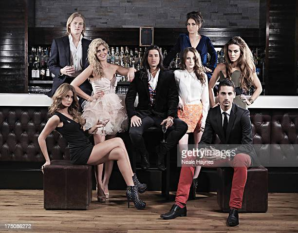 The cast of reality tv show Made in Chelsea from left to right Millie MackintoshRichard DinanFrancesca 'Cheska' HullOllie LockeRosie FortescueLouise...