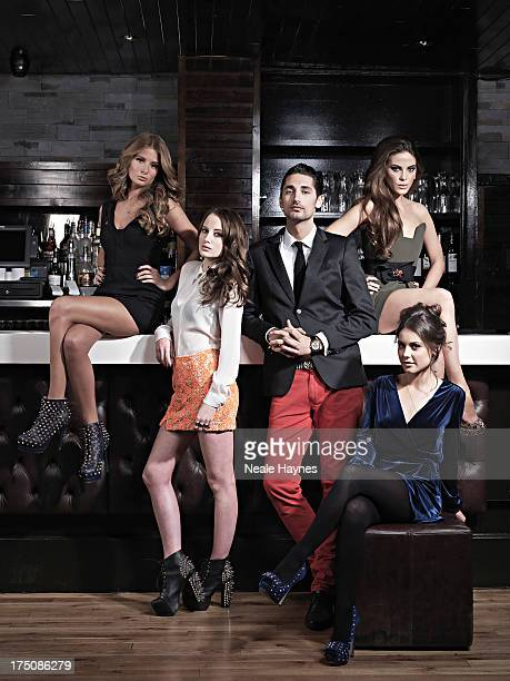 The cast of reality tv show Made in Chelsea from left to right Millie MackintoshRosie FortescueHugo TaylorLouise Thompson and Victoria BakerHarber...