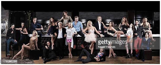 The cast of reality tv show Made in Chelsea from left to right unidentified Harriet Loader Kimberley GarnerOliver ProudlockSpencer MatthewsAlexia...