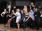 The cast of reality tv show Made in Chelsea from left to right Harriet LoaderJamie LaingAlexia LimpertPeersunidentifiedCaggie Dunlop Oliver...