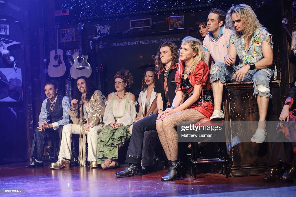 The cast of 'Rock Of Ages' attend the 'Rock Of Ages' on Broadway Military Tribute Night at Helen Hayes Theatre on October 2, 2012 in New York City.