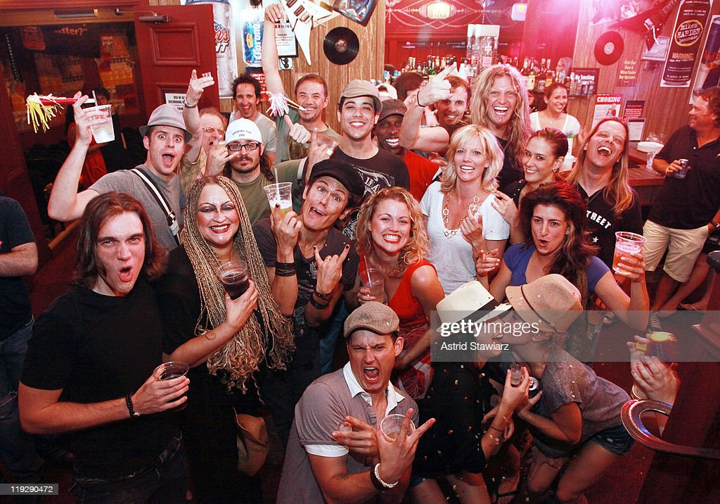 The cast of 'Rock Of Ages' celebrate the 1000th performance of Broadway's 'Rock Of Ages' at Helen Hayes Theatre on July 16 2011 in New York City