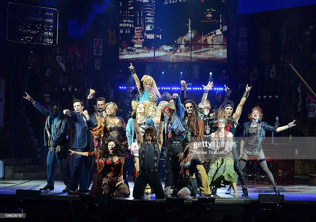 The cast of Rock of Ages during the show's opening at The Venetian on January 5, 2013 in Las Vegas, Nevada.