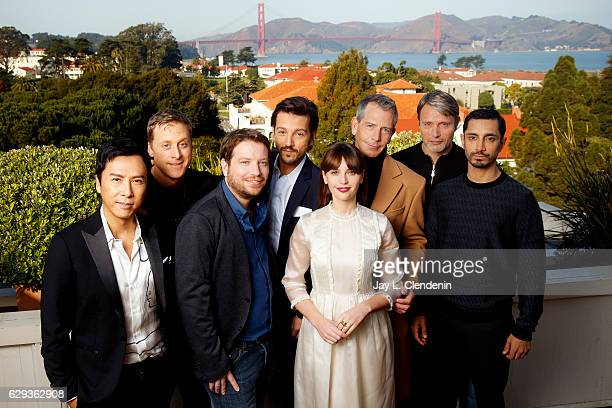 The cast of 'Rogue One A Star Wars Story' Donnie Yen Alan Tudyk director Gareth Edwards Diego Luna Felicity Jones Ben Mendelsohn producer Kathleen...