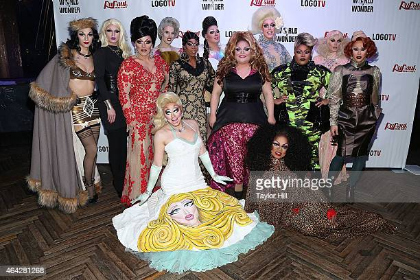 The cast of 'RuPaul's Drag Race' Season 7 New York Premiere at Diamond Horseshoe at the Paramount Hotel on February 23 2015 in New York City