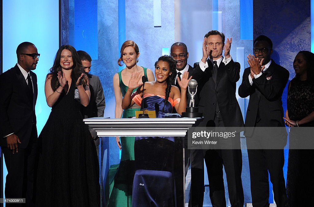 The cast of 'Scandal' accept the Outstanding Drama Series award onstage during the 45th NAACP Image Awards presented by TV One at Pasadena Civic Auditorium on February 22, 2014 in Pasadena, California.