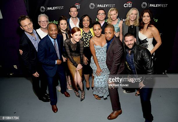 The cast of Scandal including actors Tony Goldwyn Jeff Perry Joe Morton Katie Lowes Darby Stanchfield Scott Foley executive producer Shonda Rhimes...