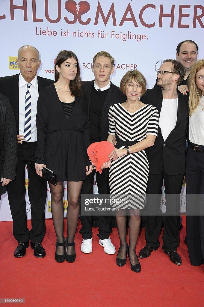 The cast of 'Schlussmacher' attend the 'Der Schlussmacher' Berlin Premiere at Cinestar Potsdamer Platz on January 7, 2013 in Berlin, Germany.