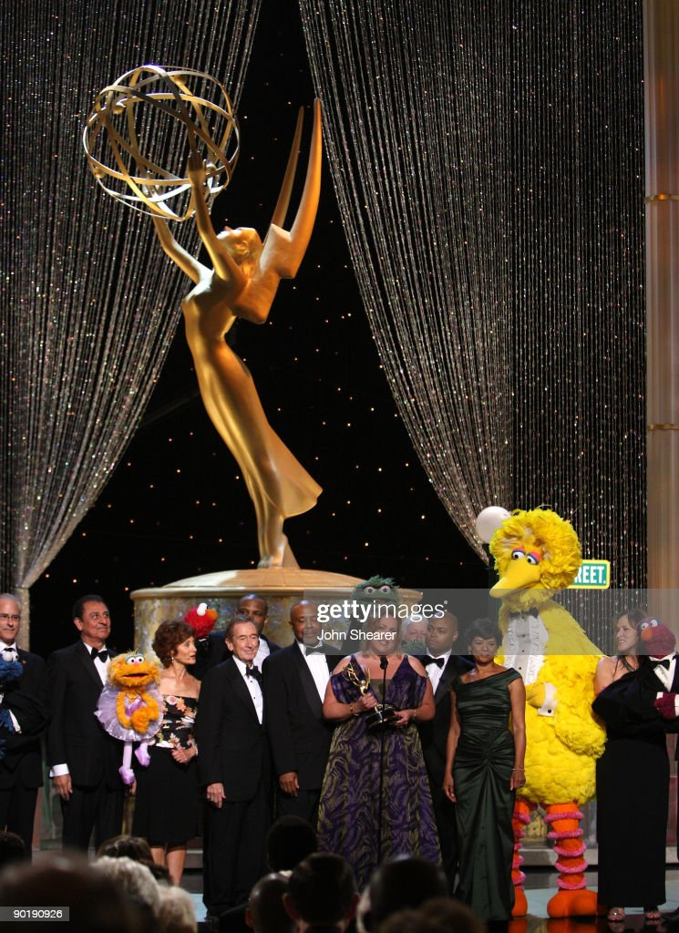 The cast of 'Sesame Street' perform onstage before accepting the Emmy Lifetime Achievement Award during the 36th Annual Daytime Emmy Awards at The Orpheum Theatre on August 30, 2009 in Los Angeles, California.