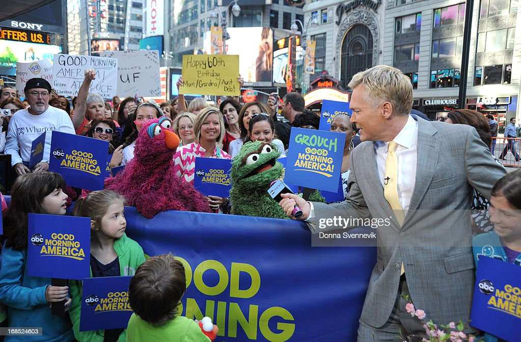 AMERICA - The cast of Sesame Street visits 'Good Morning America,' 5/10/13, airing on the ABC Television Network. (Photo by Donna Svennevik/ABC via Getty Images) TELLY, OSCAR