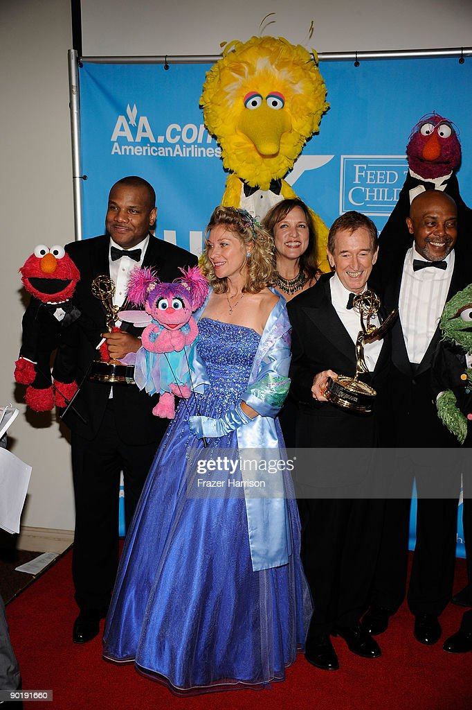 The cast of 'Sesame Street', winners of the Emmy for Lifetime Achievement Award, pose in the press room at the 36th Annual Daytime Emmy Awards at The Orpheum Theatre on August 30, 2009 in Los Angeles, California.