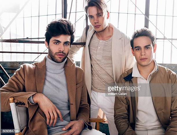 The cast of 'Shadow Hunters' Dominic Sherwood Alberto Rosende and Matthew Daddario are photographed for Bello on January 11 2016 in Los Angeles...