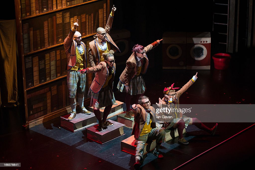 The cast of 'Some Like It Hip Hop' perform on stage at the Peacock Theatre on May 8, 2013 in London, England.