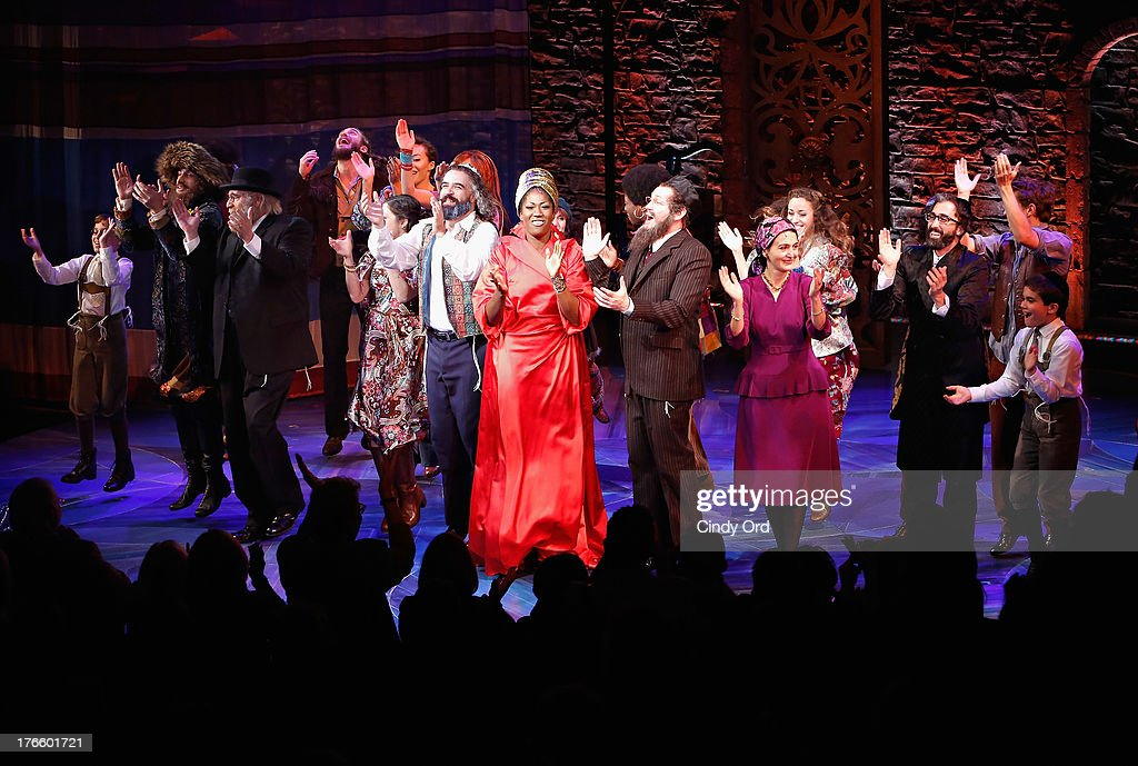 The cast of 'Soul Doctor' participates in the curtain call for the Broadway opening night at the Circle in the Square Theatre on August 15, 2013 in New York City.