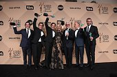 TOPSHOT The cast of 'Spotlight' poses in the press room with the Actor for Outstanding Performance by a Cast in a Motion Picture at the 22nd Annual...