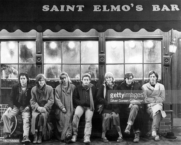 The cast of 'St Elmo's Fire' directed by Joel Schumacher 1985 Left to right Rob Lowe Ally Sheedy Demi Moore Emilio Estevez Mare Winningham Judd...