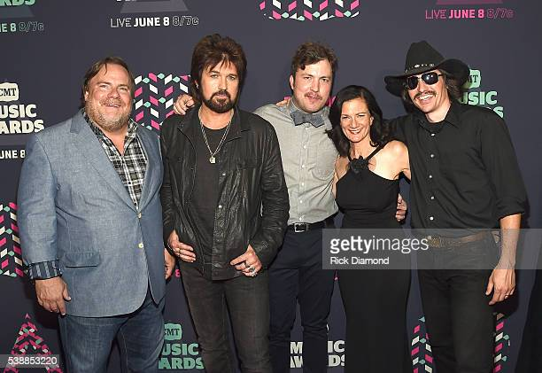 The cast of 'Still the King' Kevin P Farley Billy Ray Cyrus Travis Nicholson Leslie Fram and Jon Sewell attend the 2016 CMT Music awards at the...