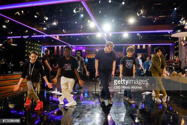 The cast of Stranger Things performs in a sketch with James Corden during 'The Late Late Show with James Corden' Thursday October 26 2017 On The CBS...