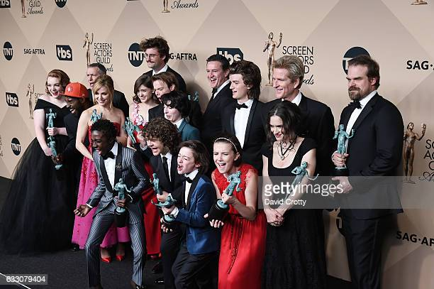 The cast of 'Stranger Things' poses in the press room at the 23rd Annual Screen Actors Guild Awards at The Shrine Expo Hall on January 29 2017 in Los...