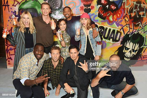 The cast of 'Suicide Squad' including Margot Robbie Adewale AkinnuoyeAgbaje Joel Kinnaman Jai Courtney Karen Fukuhara Will Smith Jay Hernandez Cara...