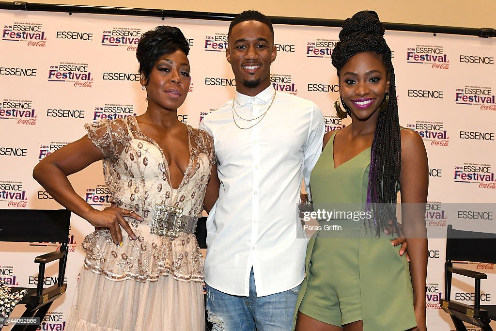 The cast of Survivor's Remorse: Tichina Arnold, Jessie Usher, and Teyonah Parris pose at the 2016 ESSENCE Festival Presented By Coca-Cola at Ernest N. Morial Convention Center on July 1, 2016 in New Orleans, Louisiana.